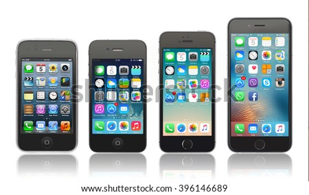 Kiev, Ukraine - March 05, 2016: Front view of a space grey color iPhones 6, 5s, 4 and 3gs generation showing the home screens. Isolated on white.