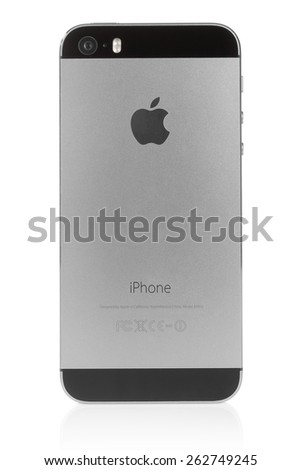 KIEV, UKRAINE - MARCH 7, 2015:iPhone 5s Space Gray on white background. iPhone is a line of smartphones designed by Apple Inc. - stock photo