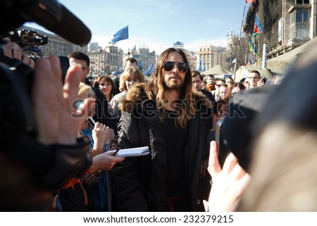 KIEV, UKRAINE - MARCH 13, 2014. Jared Leto visiting Kiev Maydan (Independence Square) - the place where more than 100 anti-government protests was killed by police in February 2014. - stock photo