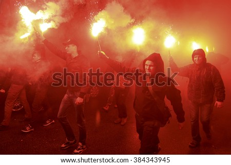 "KIEV, UKRAINE - March 1, 2016: March of fighters regiment ""Azov"" in support of the SBU detained Stanislav Krasnov"
