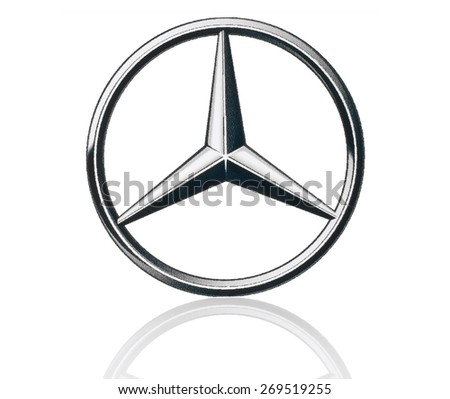 KIEV, UKRAINE - MARCH 21, 2015: Mercedes Benz logo printed on paper and placed on white background. Mercedes Benz is a German automobile manufacturer - stock photo