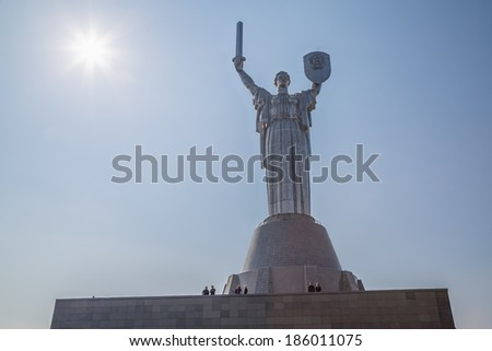 KIEV, UKRAINE - MARCH 22, 2014:  Monumental statue Mother Motherland built by Yevgeny Vuchetich opened in 1981 year at The Ukrainian State Museum of the Great Patriotic War. - stock photo