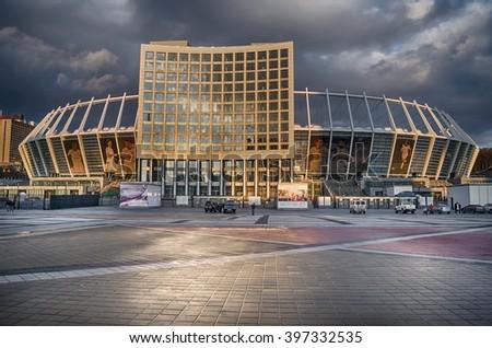 KIEV, UKRAINE - MARCH 21, 2016: National Olympic stadium in Kyiv (NSC Olimpiys'kyi), the main Euro-2012 final game stadium - stock photo