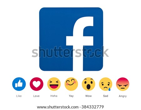 Kiev, Ukraine - March 1, 2016: New Facebook like button 6 empathetic emoji reactions . New emojis as Alternatives to the Like button printed on white paper.Social network facebook sign  - stock photo
