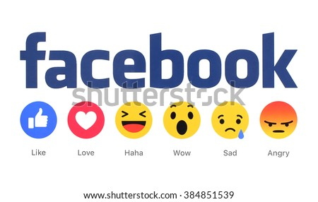 Kiev, Ukraine - March 2, 2016: New Facebook like button 6 Empathetic Emoji Reactions printed on white paper. Facebook is a well-known social networking service. - stock photo