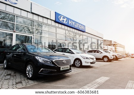 Kiev, Ukraine - March 22, 2017: New Hyundai Accent, Sonata, Tucson and Creta, at car dealership.