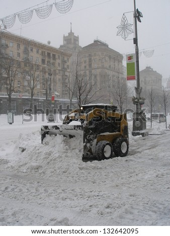 KIEV, UKRAINE - MARCH 23: snow disaster in Kiev, Ukraine. All streets are blocked 50cm of snow - 100 years record!, on March 23,2013 in Kiev,Ukraine