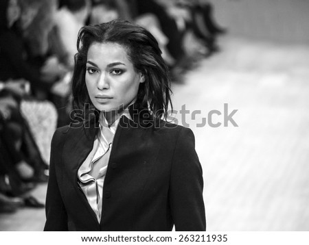 KIEV, UKRAINE - MARCH 18, 2015: The model shows a new collection of Anette Gortz (Germany) presented a new collection at the 36th Ukrainian Fashion Week.