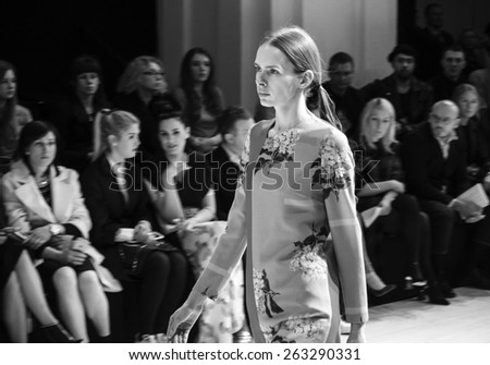 KIEV, UKRAINE - MARCH 18, 2015: The model shows a new collection of Lilya Poustovit the 36th Ukrainian Fashion Week.