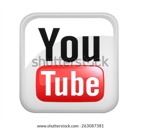 KIEV, UKRAINE - MARCH 08, 2015: YouTube logotype printed on paper. YouTube is a video-sharing website headquartered in San Bruno, California. - stock photo