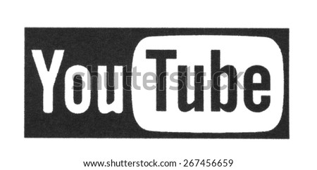 KIEV, UKRAINE - MARCH 31, 2015: YouTube logotype printed on paper. YouTube is a video-sharing website headquartered in San Bruno, California. - stock photo