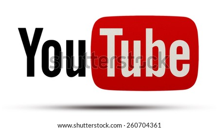 KIEV, UKRAINE - MARCH 05, 2015: YouTube logotype printed on paper.  YouTube is the popular online video-sharing website. Users can add, view, comment and share with your friends by various videos. - stock photo