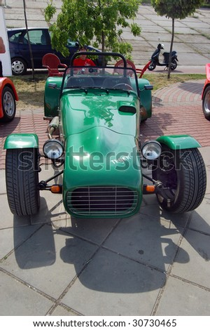 KIEV, UKRAINE - MAY 22: A garage-made car is shown at an exhibition of  cars at the Auto Show 2009 on May 22, 2009 in Kiev. The show took place from May 22-24. - stock photo