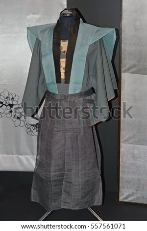 KIEV, UKRAINE - MAY 18: A original Japanese Kaishakunin kimono on the exhibit of Japane fashion on May 18, 2013 in Kiev, Ukraine. Kaishakunin is appointed second whose duty is to behead the condemned