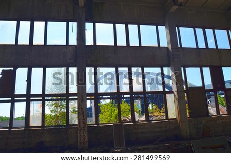 KIEV, UKRAINE - MAY 17, 2015: Abandoned industrial complex..May 17, 2015 Kiev, Ukraine  - stock photo
