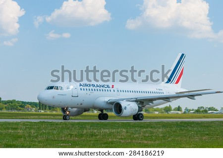 KIEV, UKRAINE - MAY 20, 2015:  Air France A319, the Borispol's International airport in preparation for takeoff on May 20 2015, Kiev, Ukraine. A319 is one of the world's largest passenger aircraft - stock photo