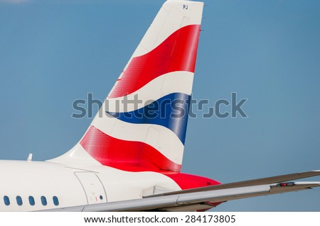 KIEV, UKRAINE - MAY 20, 2015: British Airways Airbus A319-131 tail livery at Borispol International Airport on May  20, 2015. British Airways is one of the bigest airlines in Europe - stock photo