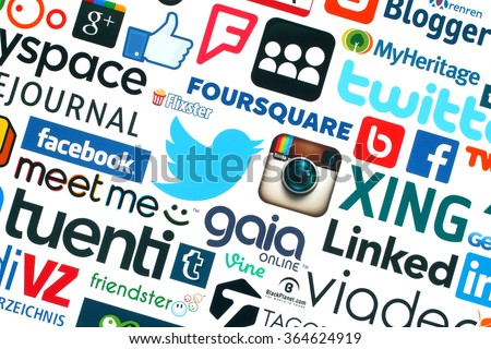 Kiev, Ukraine - May 20, 2015:Collection of popular social media logos printed on white paper:Facebook, Twitter, Google Plus, Instagram, Pinterest, Blogger, LinedIn, MySpace and others - stock photo