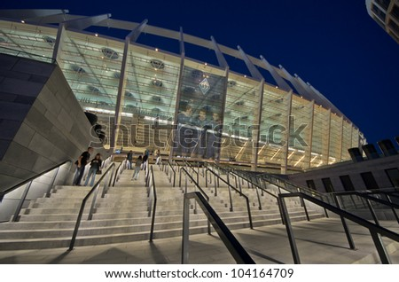 KIEV,UKRAINE-MAY 10: exterior  nightview of the olympisky stadium  on 10th may,2012, in Kiex,Ukraine. The city capital will host the final of next eurocup of soccer in july 2012. - stock photo