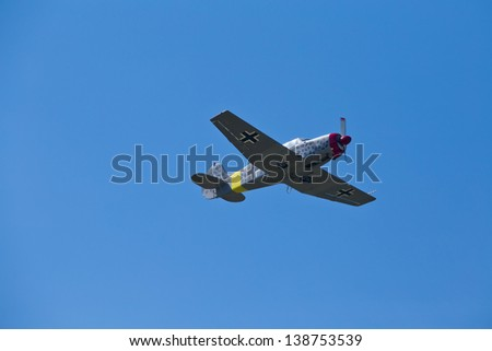 KIEV, UKRAINE -MAY 11: German military airplane (imitation) during historical reenactment of Kiev Liberation in 1943, WWII , May 11, 2013 in Kiev, Ukraine