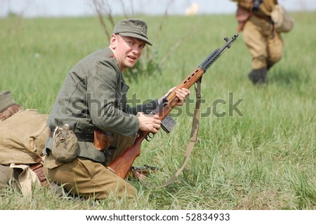 KIEV, UKRAINE - MAY 10 : Member of Red Star history club wears historical CZECH partizan costume during historical reenactment of 1945 WWII, May 10, 2010 in Kiev, Ukraine.