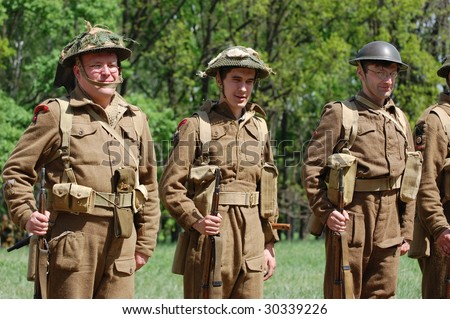 KIEV, UKRAINE - MAY 9: Members of military history club Red Star in British uniform during historical military reenactment of War in Germany of May 1945 May 9, 2009 in Kiev, Ukraine.