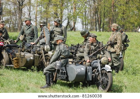 KIEV, UKRAINE - MAY 8 : Members of Red Star history club wear historical German uniform during historical reenactment of WWII on May 8, 2011 in Kiev, Ukraine
