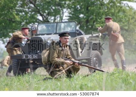 KIEV, UKRAINE - MAY 10 : members of Red Star history club wear historical Soviet uniform during historical reenactment of 1945 WWII, May 10, 2010 in Kiev, Ukraine.