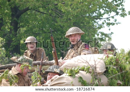 KIEV ,UKRAINE. May 9 , 2008. Military history club  Red Star. Historical military reenacting.  War in Germany in may 1945. Person in Scottish regiment uniform.