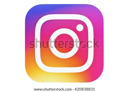 Kiev, Ukraine - May 14, 2016: New Instagram logotype camera icon,  new colourful logo on pc screen. Instagram - free application for sharing photos and videos with the elements of a social network. - stock photo