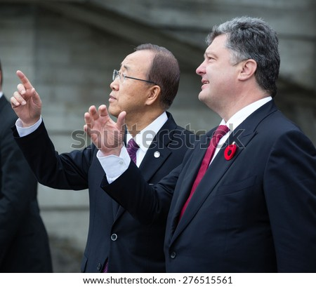 KIEV, UKRAINE - May. 08, 2015: President of Ukraine Petro Poroshenko, and UN Secretary General Ban Ki-moon during the day of remembrance and reconciliation in Kiev - stock photo