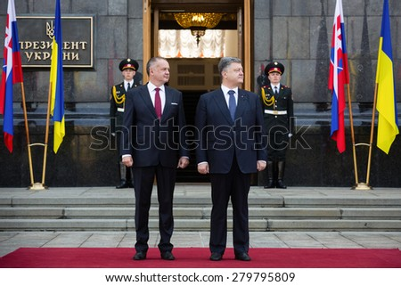 KIEV, UKRAINE - May 20, 2015: President of Ukraine Petro Poroshenko (R) and the President of the Slovak Republic Andrej Kiska during the official meeting in Kiev  - stock photo