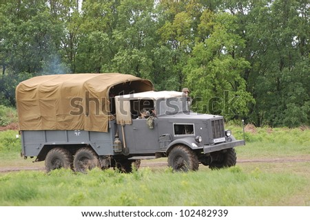 KIEV, UKRAINE -MAY 13:  Red Star military history club. German truck of WWII time during historical reenactment of WWII , May 13, 2012 in Kiev, Ukraine