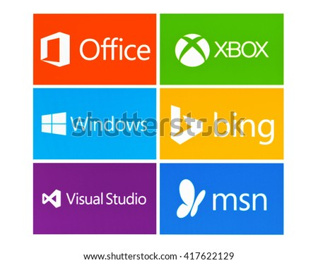 Kiev, Ukraine - May 08, 2016: Set of Microsoft products logos on pc screen: Office,XBOX,Windows 10,Bing,Visual Studio,MSN. Microsoft - one of the largest multinational companies  proprietary software. - stock photo