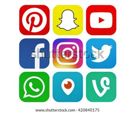 Kiev, Ukraine - May 15, 2016: Set of most popular social media icons: Facebook, Twitter, Instagram, Pinterest,WhatsApp, Youtube,Vine, Periscope, Snapchat on pc screen. - stock photo