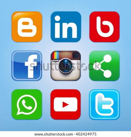 Kiev, Ukraine - May 13, 2015: Set of most popular social media icons: Twitter, YouTube, WhatsApp, bebo, facebook ,linkedin, instagram, blogger and others logos printed on paper. - stock photo
