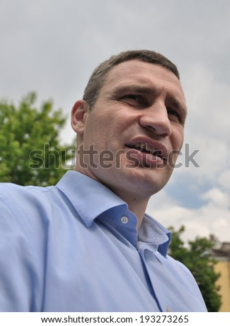KIEV, UKRAINE � 17 MAY 2014: The famous Ukrainian politician and boxer Vitali Klitschko meets with fans during election campaign to major of Kiev on May 17, 2014 in Kiev, Ukraine