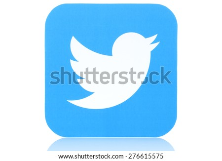 KIEV, UKRAINE - MAY 07, 2015:Twitter icon printed on paper. Twitter is an online social networking service that enables users to send and read short messages. - stock photo