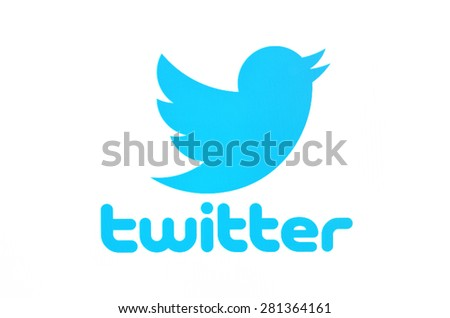 KIEV, UKRAINE - MAY 08, 2015: Twitter logotype on pc screen. Twitter social network for public exchange of short messages using the web interface, SMS, instant messaging tools. - stock photo