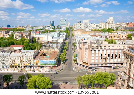 KIEV, UKRAINE-MAY, 6: View on one of largest stores, located in the city center in Kiev on May 6,2013. The facade of building is architectural monument. Since 2012,  store is being renovated