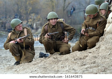 KIEV, UKRAINE -NOV 3: An unidentified members of Red Star history club wear historical CZECH uniform during historical reenactment of WWII, Battle for Kiev 1943 on November 3, 2013 in Kiev, Ukraine