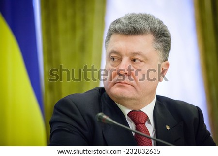 KIEV, UKRAINE - NOV 24, 2014: President of Ukraine Petro Poroshenko during an official meeting with the Lithuanian President Dalia Grybauskaite, in Kiev - stock photo