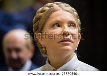 KIEV, UKRAINE - NOV 27, 2014: The People's Deputy of Ukraine Yulia Tymoshenko at the opening of the first session of the Verkhovna Rada of Ukraine VIII convocation - stock photo