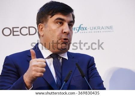 Kiev, Ukraine - NOVEMBER 16, 2015: Former Georgian President, now governor of Odessa region in Ukraine, Mikheil Saakashvili speaks during the international anti-corruption forum in Kiev. - stock photo