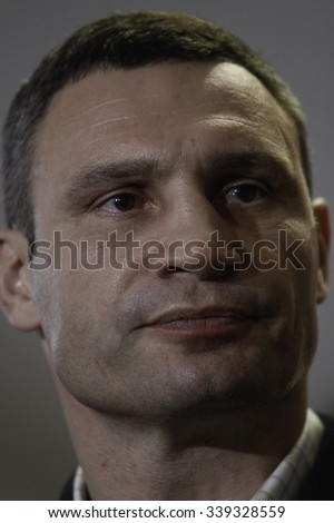 KIEV,UKRAINE - November 15, 2015: Kiev's current mayor and former heavyweight boxing champion Vitali Klitschko, vote at a polling station in an regional and local elections in Kiev - stock photo