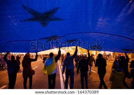 KIEV, UKRAINE - NOVEMBER 24: Mass meeting for European Integration and the government's resignation, November 24, 2013, Kiev - stock photo