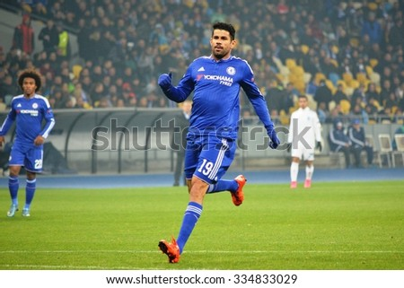 KIEV, UKRAINE - OCT 20: Diego Costa during the UEFA Champions League match between Dinamo Kiev vs Chelsea (London, England), 20 October 2015, Olympic NSC, Ukraine
