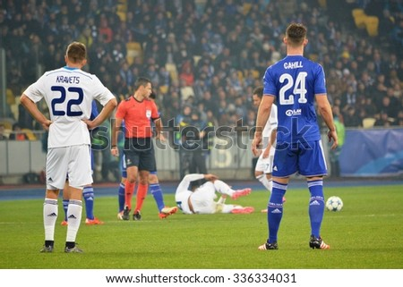 KIEV, UKRAINE - OCT 20: Gary Cahill (R) during the UEFA Champions League match between Dinamo Kiev vs Chelsea (London, England), 20 October 2015, Olympic NSC, Ukraine