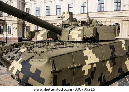 KIEV, UKRAINE - Oct 16, 2015: Power of Unbroken. Exhibition of military equipment on the occasion of the Day of Defender of Ukraine. Tank BM OPLOT