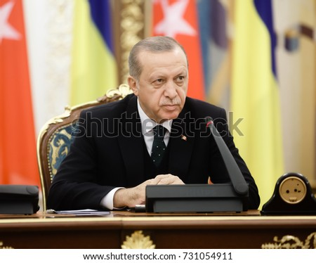 KIEV, UKRAINE - Oct. 09, 2017: Turkish President Recep Tayyip Erdogan during his official visit to Ukraine